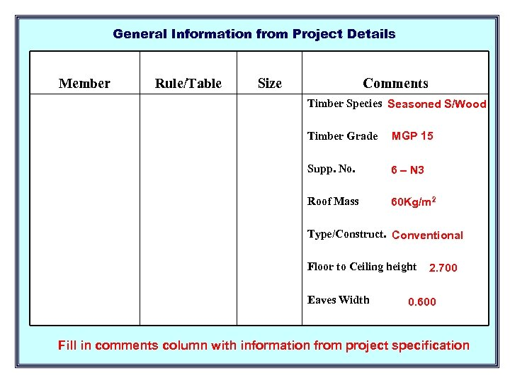 General Information from Project Details Member Rule/Table Size Comments Timber Species Seasoned S/Wood Timber