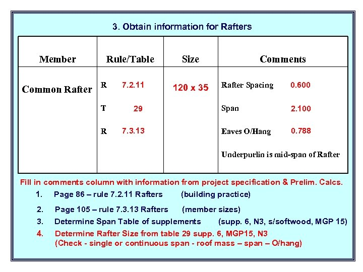 3. Obtain information for Rafters Member Rule/Table R 7. 2. 11 T 29 R