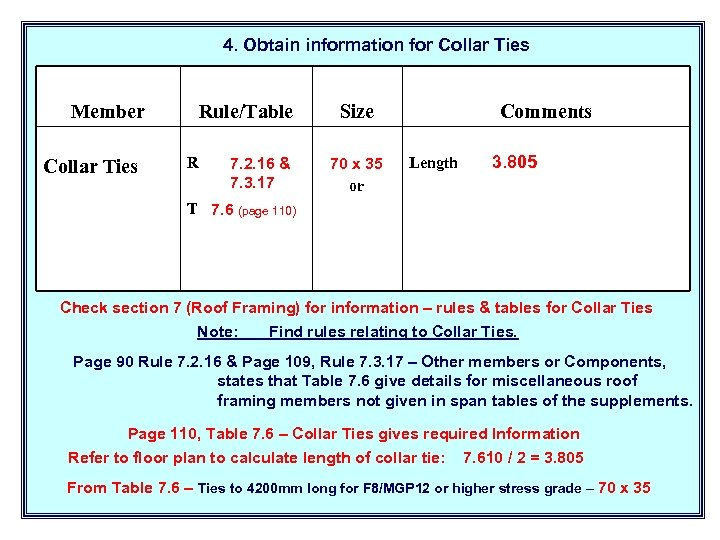 4. Obtain information for Collar Ties Member Collar Ties Rule/Table R 7. 2. 16