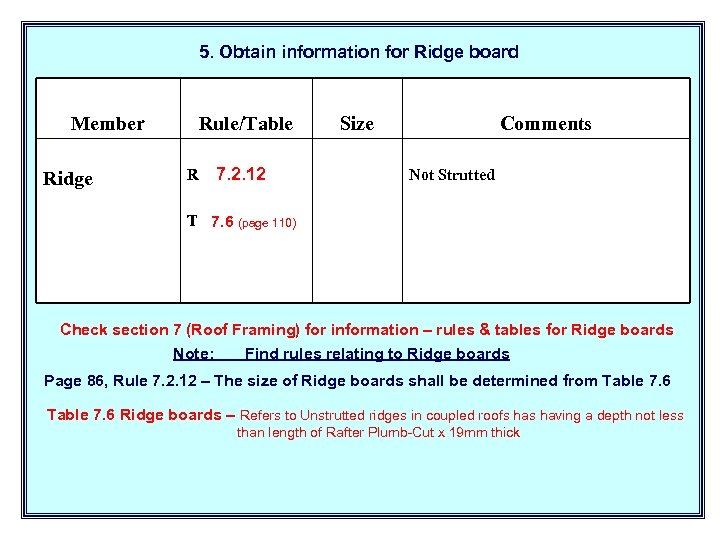 5. Obtain information for Ridge board Member Ridge Rule/Table R 7. 2. 12 Size