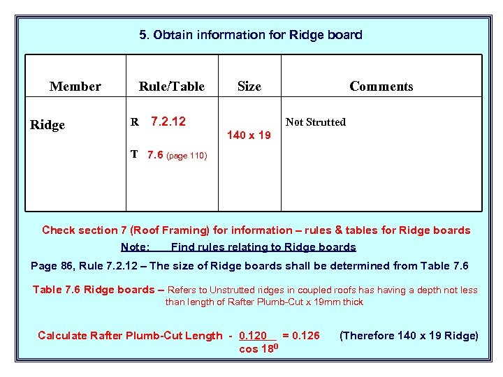 5. Obtain information for Ridge board Member Ridge Rule/Table R Size 7. 2. 12