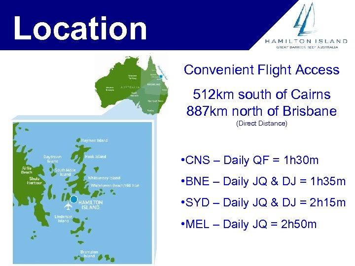 Location Convenient Flight Access 512 km south of Cairns 887 km north of Brisbane