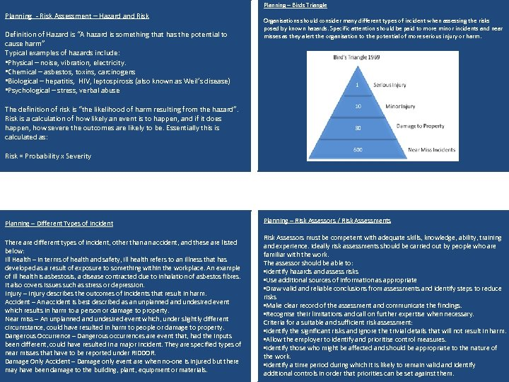 Planning – Birds Triangle Planning - Risk Assessment – Hazard and Risk Definition of