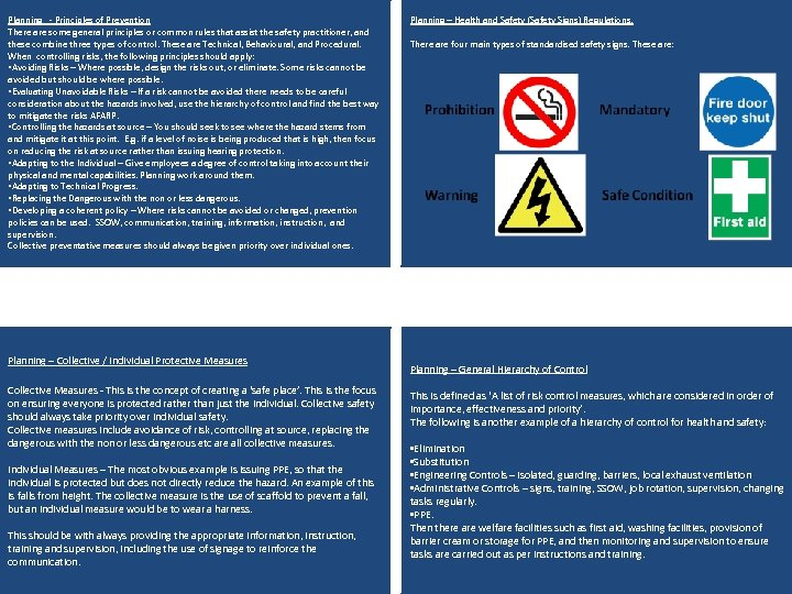 Planning - Principles of Prevention There are some general principles or common rules that