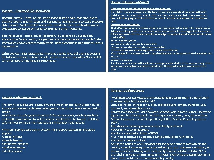 Planning – Safe System of Work (2) Planning - Sources of H&S information Internal