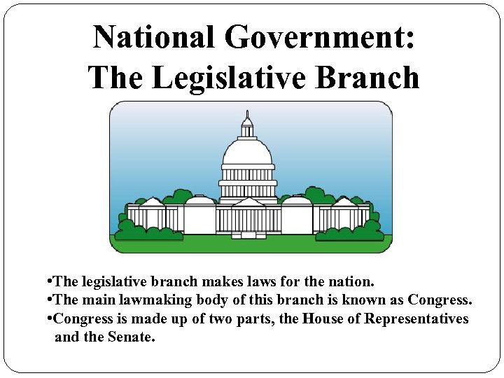 National Government: The Legislative Branch • The legislative branch makes laws for the nation.