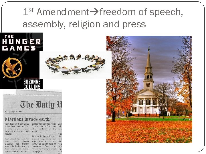 1 st Amendment freedom of speech, assembly, religion and press