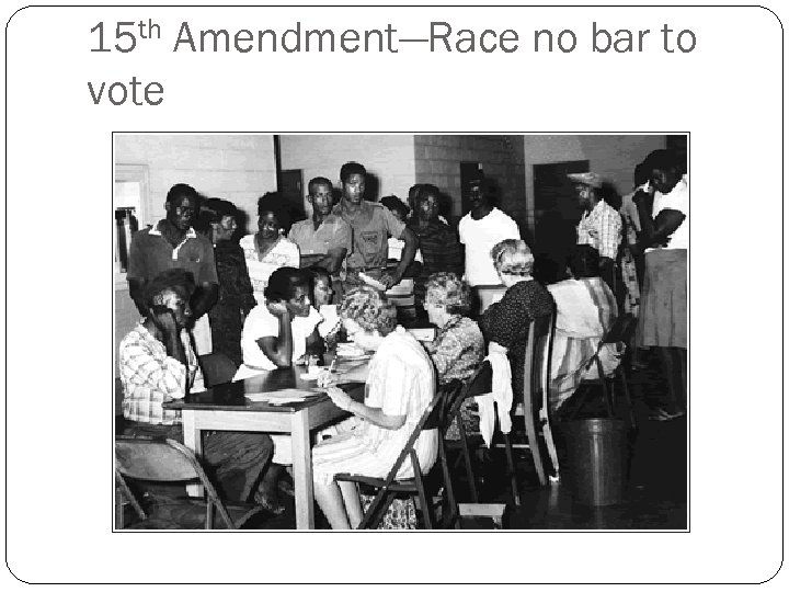 15 th Amendment—Race no bar to vote