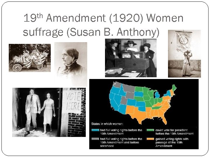 19 th Amendment (1920) Women suffrage (Susan B. Anthony)