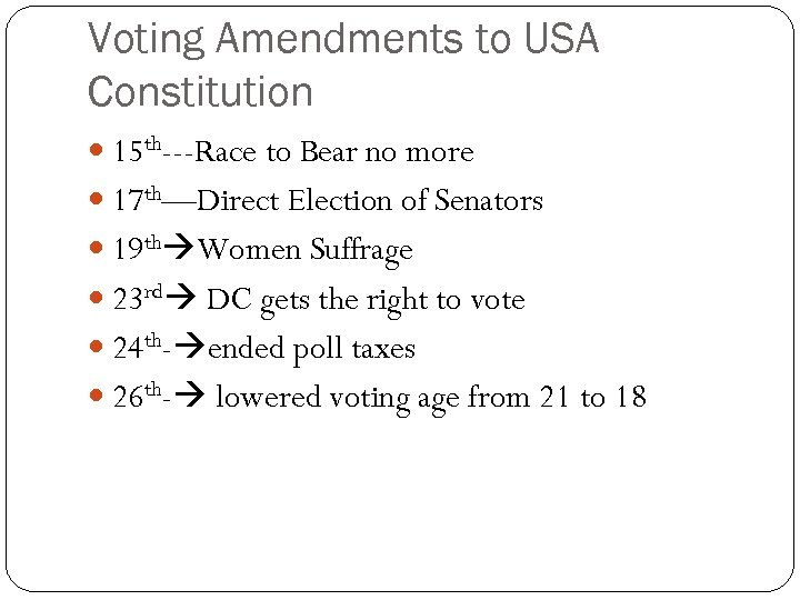 Voting Amendments to USA Constitution 15 th---Race to Bear no more 17 th—Direct Election