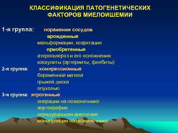 КЛАССИФИКАЦИЯ ПАТОГЕНЕТИЧЕСКИХ ФАКТОРОВ МИЕЛОИШЕМИИ 1 -я группа: поражения сосудов врожденные мальформации, коарктация приобретенные атеросклероз