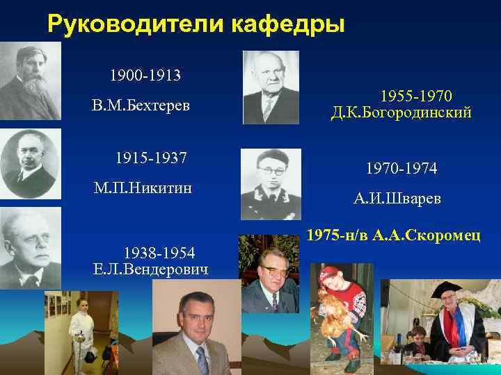 Руководители кафедры 1900 -1913 В. М. Бехтерев 1915 -1937 М. П. Никитин 1938 -1954