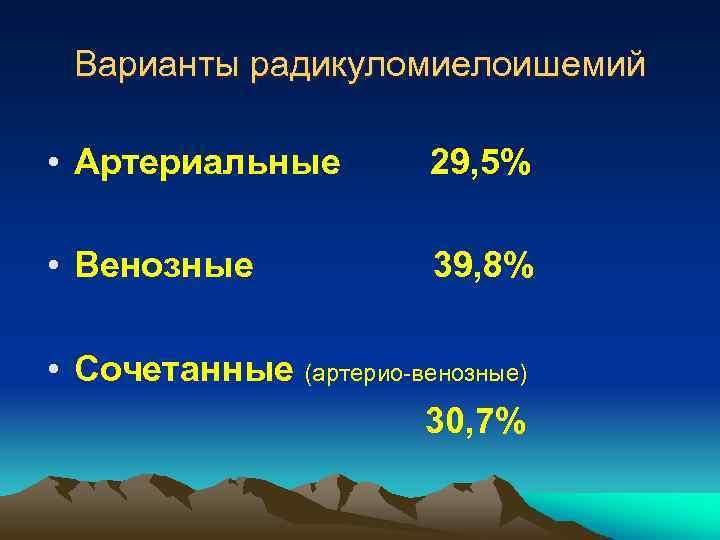 Варианты радикуломиелоишемий • Артериальные 29, 5% • Венозные 39, 8% • Сочетанные (артерио-венозные) 30,