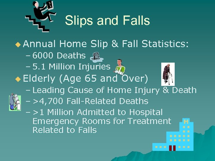 Slips and Falls u Annual Home Slip & Fall Statistics: – 6000 Deaths –