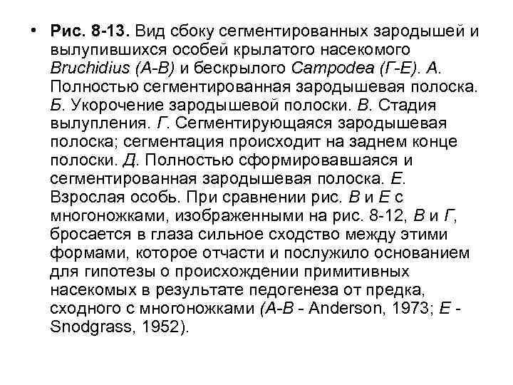 • Рис. 8 -13. Вид сбоку сегментированных зародышей и вылупившихся особей крылатого насекомого