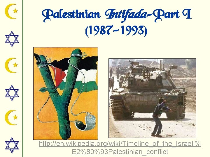 Palestinian Intifada-Part I (1987 -1993) http: //en. wikipedia. org/wiki/Timeline_of_the_Israeli% E 2%80%93 Palestinian_conflict