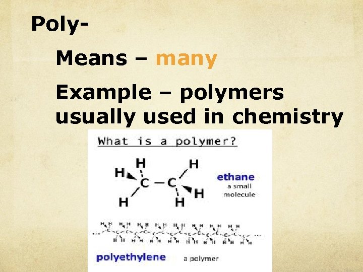 Poly. Means – many Example – polymers usually used in chemistry