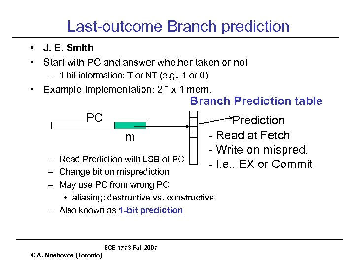 Last-outcome Branch prediction • J. E. Smith • Start with PC and answer whether