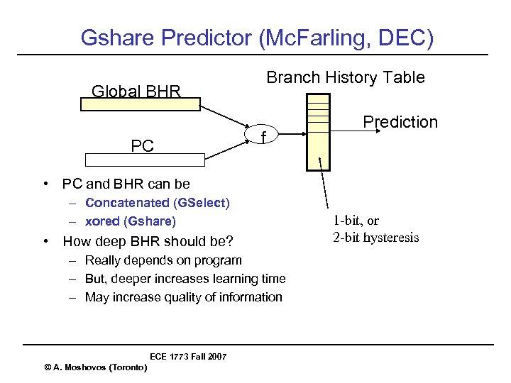 Gshare Predictor (Mc. Farling, DEC) Branch History Table Global BHR PC f Prediction •