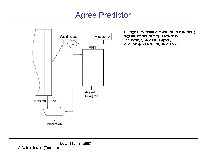 Agree Predictor The Agree Predictor: A Mechanism for Reducing Negative Branch History Interference Eric