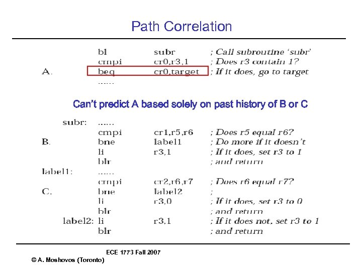 Path Correlation Can't predict A based solely on past history of B or C