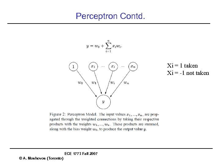 Perceptron Contd. Xi = 1 taken Xi = -1 not taken ECE 1773 Fall