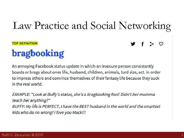 Law Practice and Social Networking Raffi V. Zerounian © 2015 3