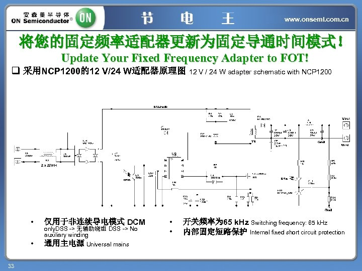www. onsemi. com. cn 将您的固定频率适配器更新为固定导通时间模式! Update Your Fixed Frequency Adapter to FOT! q 采用NCP
