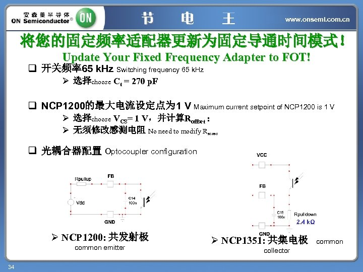 www. onsemi. com. cn 将您的固定频率适配器更新为固定导通时间模式! Update Your Fixed Frequency Adapter to FOT! q 开关频率65