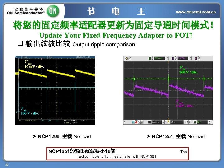 www. onsemi. com. cn 将您的固定频率适配器更新为固定导通时间模式! Update Your Fixed Frequency Adapter to FOT! q 输出纹波比较