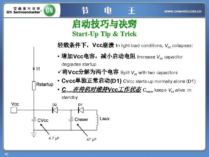 www. onsemi. com. cn 启动技巧与决窍 Start-Up Tip & Trick 轻载条件下,Vcc崩溃 In light load conditions,