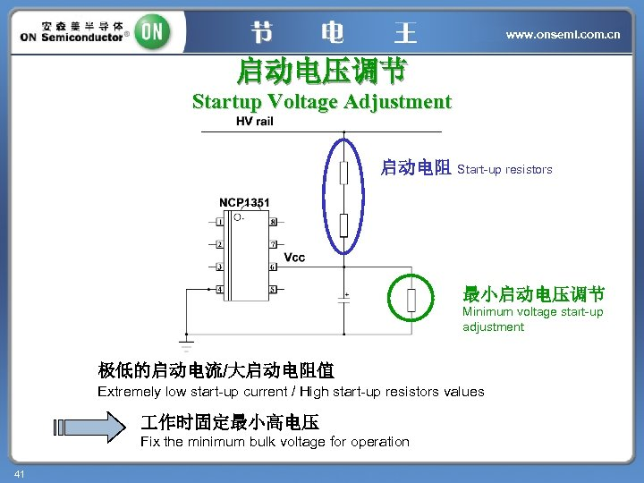 www. onsemi. com. cn 启动电压调节 Startup Voltage Adjustment 启动电阻 Start-up resistors 最小启动电压调节 Minimum voltage