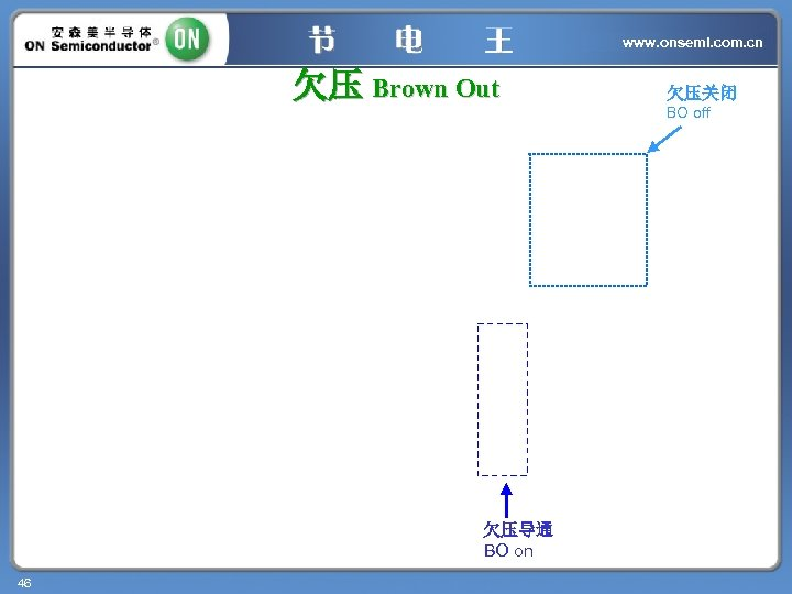 www. onsemi. com. cn 欠压 Brown Out 欠压导通 BO on 46 欠压关闭 BO off