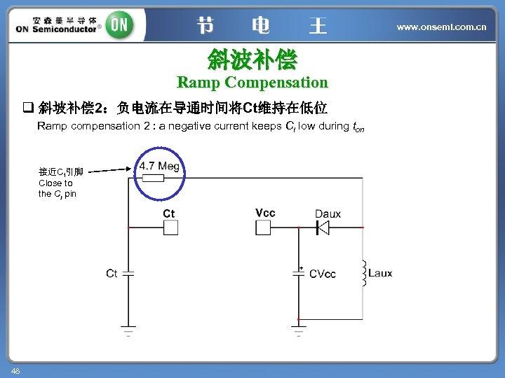 www. onsemi. com. cn 斜波补偿 Ramp Compensation q 斜坡补偿 2:负电流在导通时间将Ct维持在低位 Ramp compensation 2 :