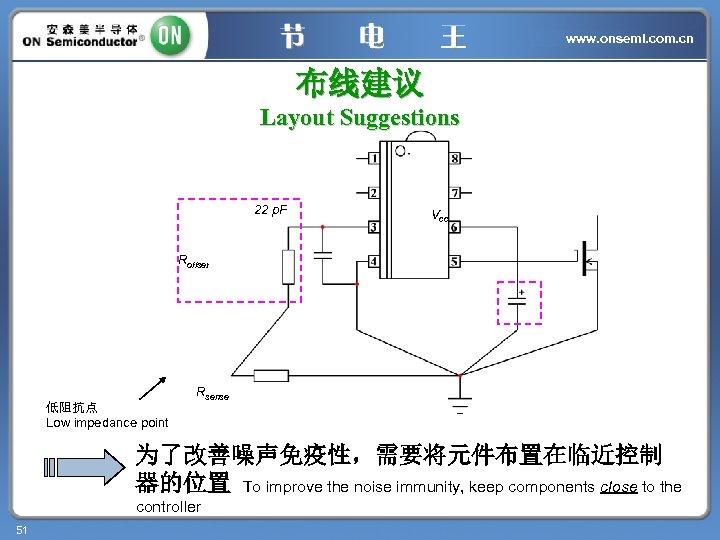 www. onsemi. com. cn 布线建议 Layout Suggestions 22 p. F Vcc Roffset 低阻抗点 Low