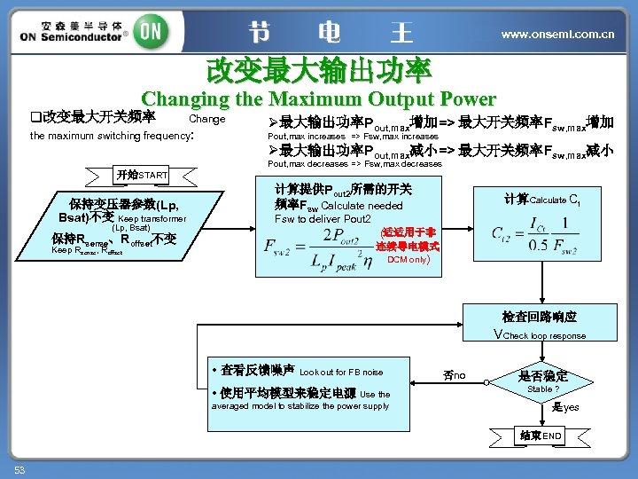 www. onsemi. com. cn 改变最大输出功率 Changing the Maximum Output Power q改变最大开关频率 Change the maximum
