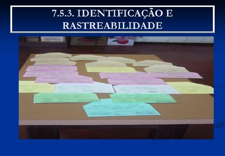7. 5. 3. IDENTIFICAÇÃO E RASTREABILIDADE