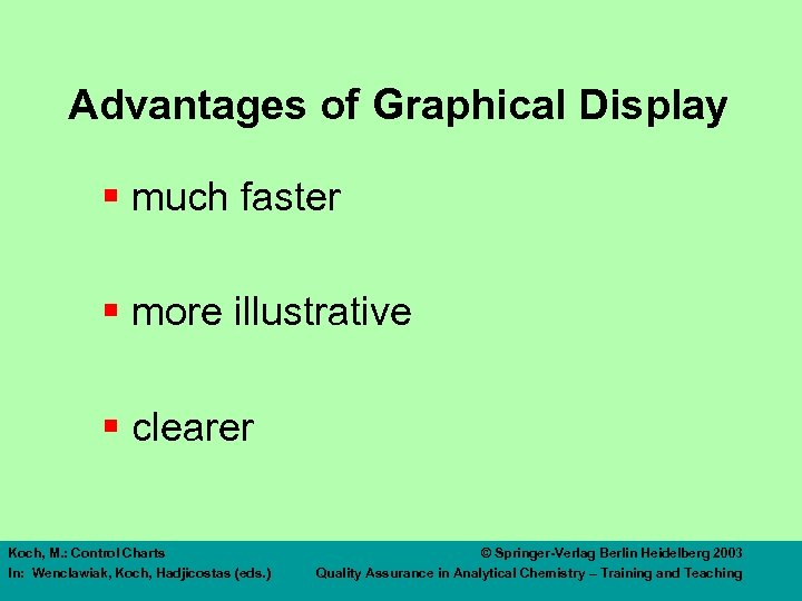 Advantages of Graphical Display § much faster § more illustrative § clearer Koch, M.