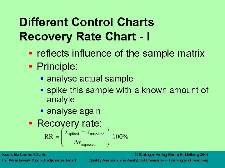 Different Control Charts Recovery Rate Chart - I § reflects influence of the sample