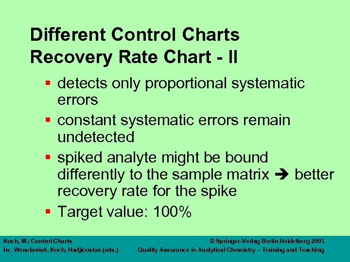 Different Control Charts Recovery Rate Chart - II § detects only proportional systematic errors
