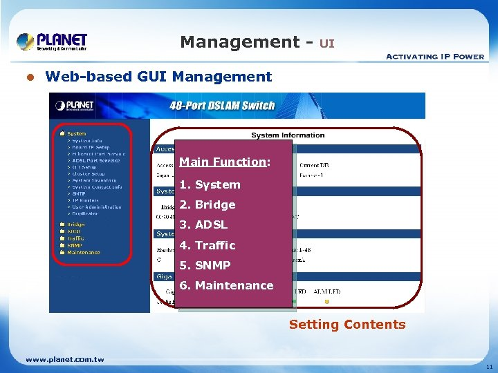 Management l UI Web-based GUI Management Main Function: 1. System 2. Bridge 3. ADSL