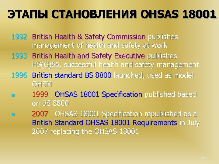 ЭТАПЫ СТАНОВЛЕНИЯ OHSAS 18001 1992 British Health & Safety Commission publishes management of health