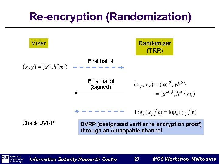 Re-encryption (Randomization) Voter Randomizer (TRR) First ballot Final ballot (Signed) Check DVRP (designated verifier