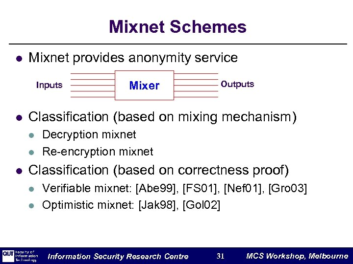 Mixnet Schemes l Mixnet provides anonymity service Inputs l Outputs Classification (based on mixing