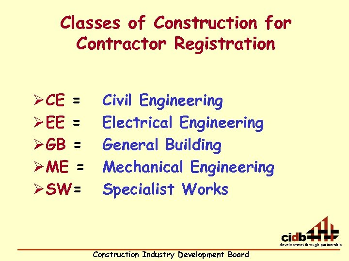 Classes of Construction for Contractor Registration Ø CE = Ø EE = Ø GB