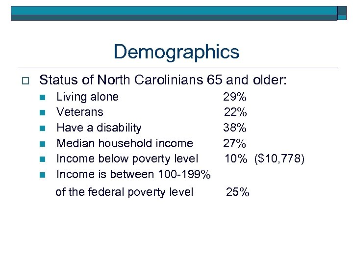 Demographics o Status of North Carolinians 65 and older: n n n Living alone