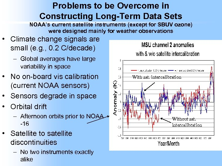 Problems to be Overcome in Constructing Long-Term Data Sets NOAA's current satellite instruments (except