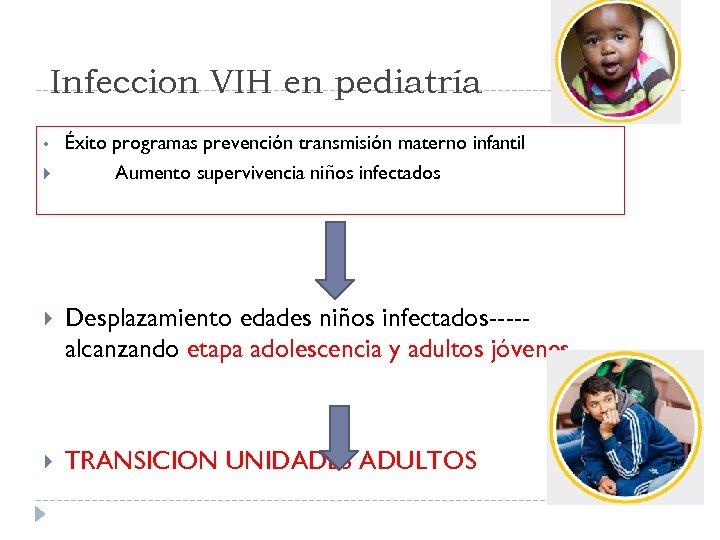 Infeccion VIH en pediatría • Éxito programas prevención transmisión materno infantil Aumento supervivencia niños