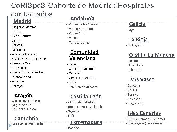 Co. RISpe. S-Cohorte de Madrid: Hospitales contactados Madrid - Gregorio Marañón - La Paz