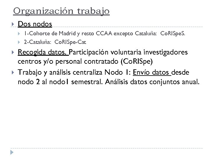 Organización trabajo Dos nodos 1 -Cohorte de Madrid y resto CCAA excepto Cataluña: Co.
